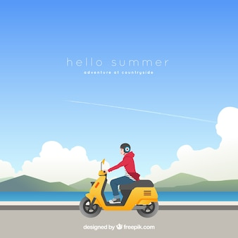 Summer background with boy on a motorcycle