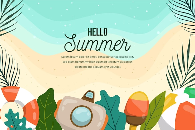 Summer background with camera and beach
