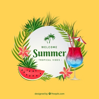 Summer background with cocktail and watermelon