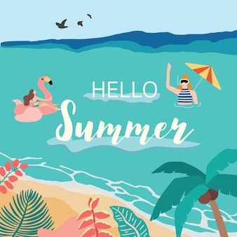 Summer background with coconut tree sea people on the beach