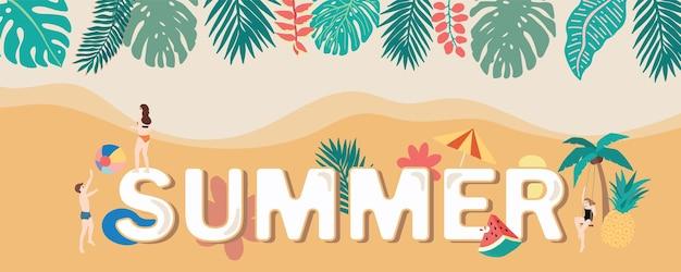 Летний фон с кокосовой пальмой морские люди на пляже