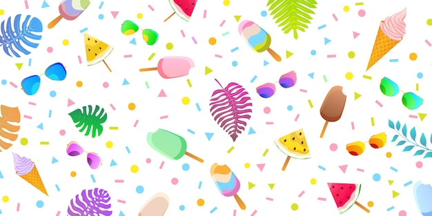 Summer background with colored popsicles, icecream in waffle cones, pieces of watermelon, glasses and palm leaves.
