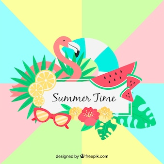 Summer background with colorful elements