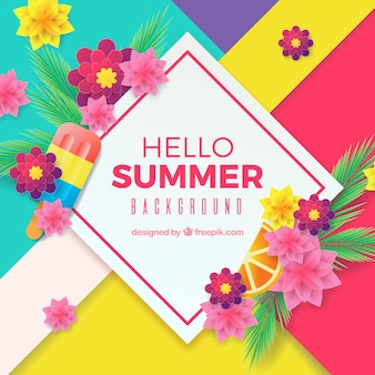 Summer background with colorful flowers