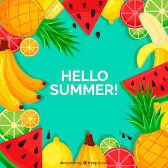 Summer background with colorful fruits