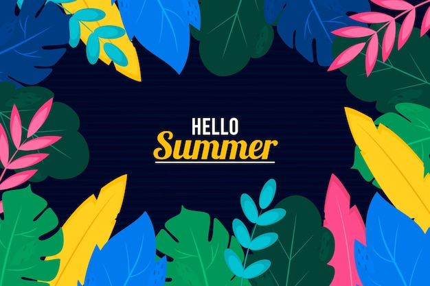 Summer background with colorful leaves