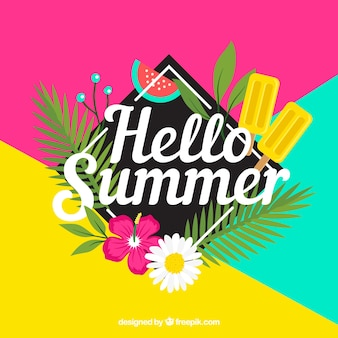 Summer background with colorful style