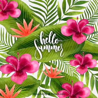 Summer background with colorful watercolor flowers