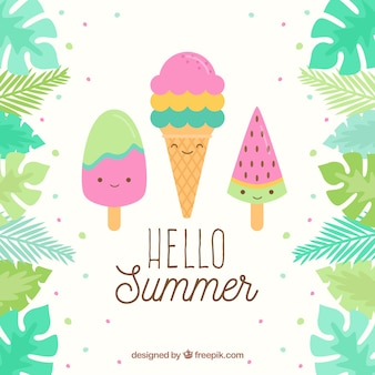 Summer background with cute ice creams