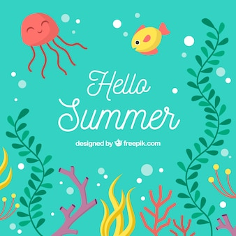 Summer background with deep sea in flat style