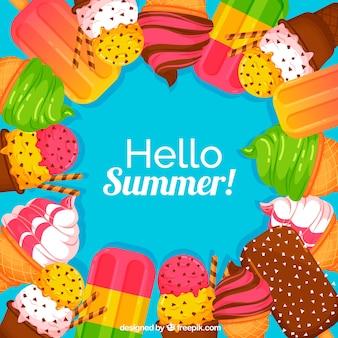おいしいアイスクリームと夏の背景