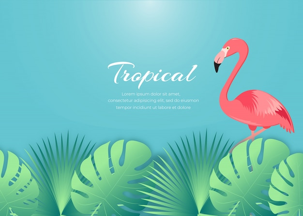Summer background with flamingo and tropical leaf backgrounds