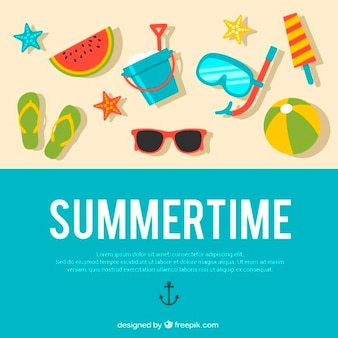 Summer background with flat elements