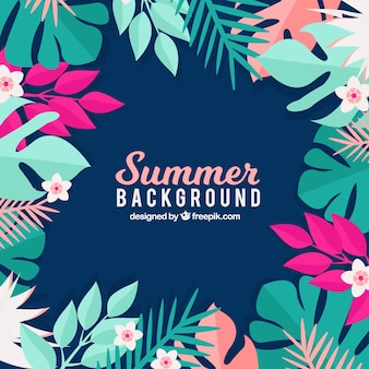 Summer background with floral style