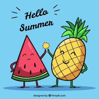 Summer background with funny fruits