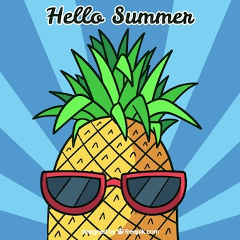Summer background with funny pineapple