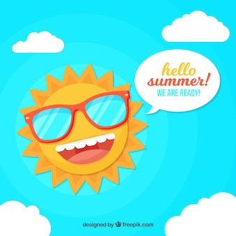 Summer background with funny sun in flat style