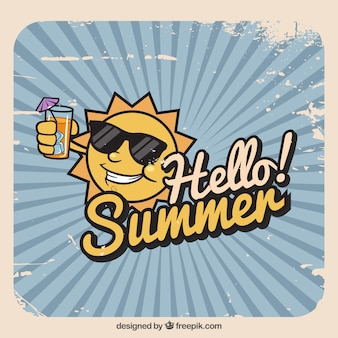 Summer background with funny sun in vintage style