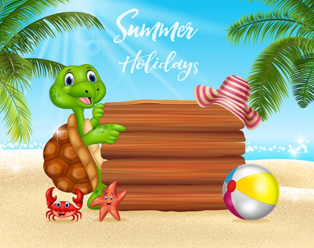 Summer background with  funny turtle