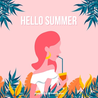 Summer background with girl drinking a cocktail
