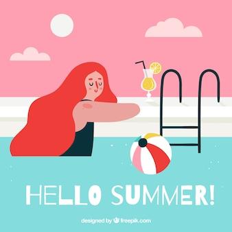 수영장에서 여자와 여름 배경