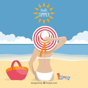 Summer background with girl sunbathing