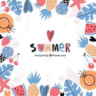 Summer background with hand drawn elements