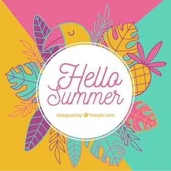 Summer background with hand drawn style