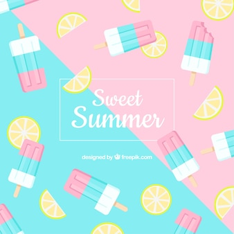 Summer background with ice cream pattern