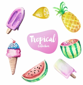 Summer background with ice creams and fruits in watercolor style