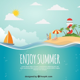 Summer background with island, boat and lighthouse
