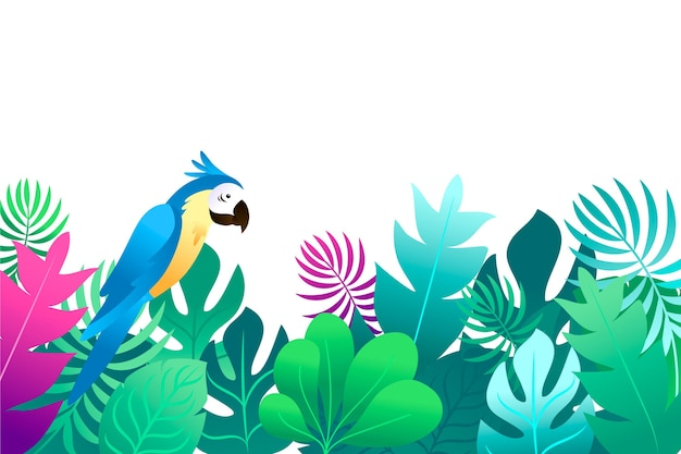 Summer background with leaves and parrot
