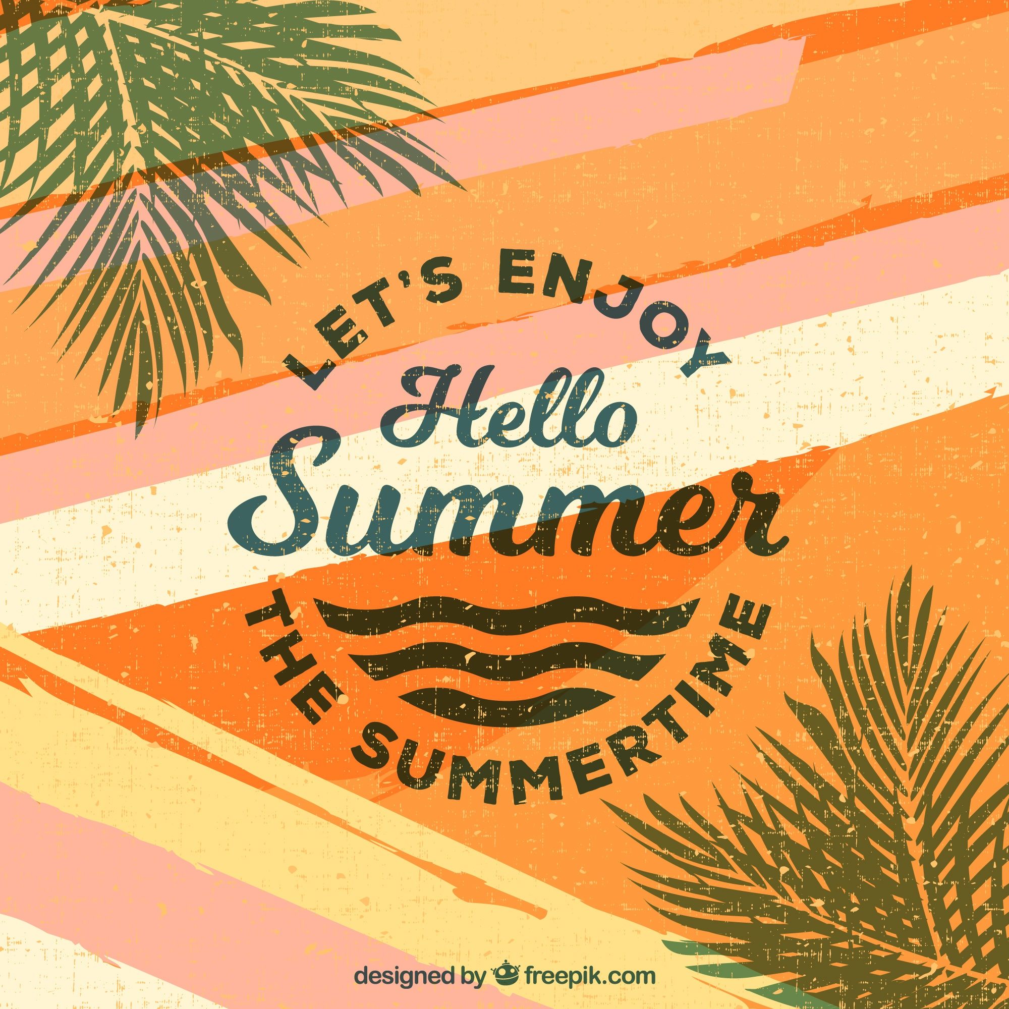 Summer background with lettering and plants