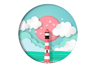 灯台の紙アートスタイルのベクトルと夏の背景