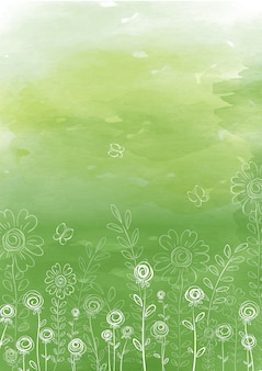 Summer background with linear doodle flowers and herbs on a green watercolor texture background.