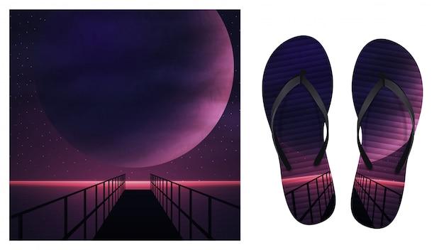 Летний фон с морской фиолетовый космический пейзаж с большой планеты, звездное небо и деревянный пирс. дизайн для печати на шлепанцах. визуализация шлепанцев
