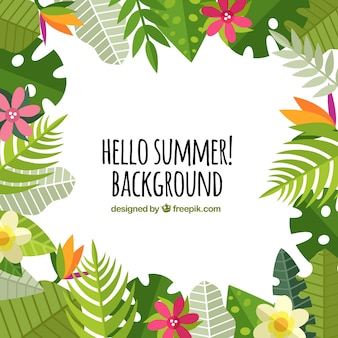 Summer background with palm leaves and flowers