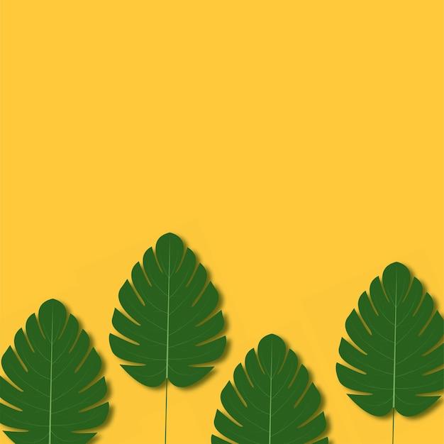 ヤシの木の葉を持つ夏の背景。