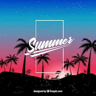 Summer background with palm tree silhouettes at night