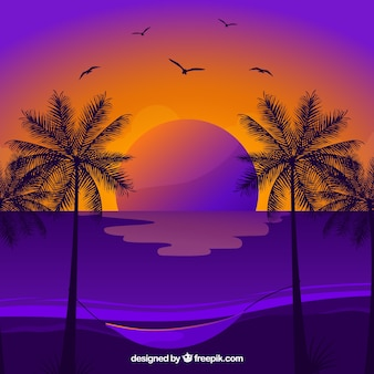 Summer background with palm trees and birds at sunset