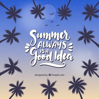야자수와 글자 여름 배경