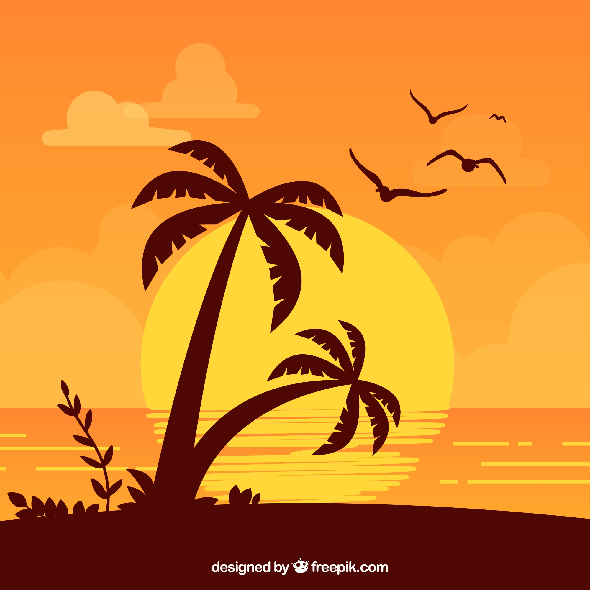 Summer background with palm trees at sunset