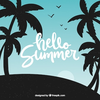 Summer background with palm trees silhouette