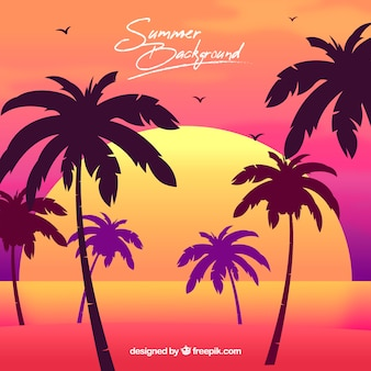 Summer background with palm trees and sunset