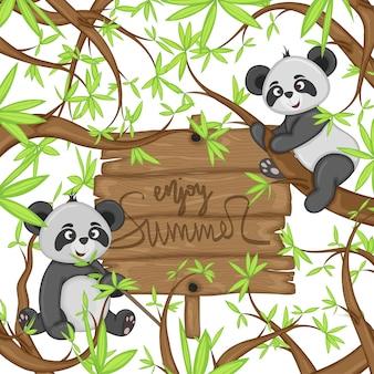Летний фон с пандами. мультяшный стиль. векторная иллюстрация.