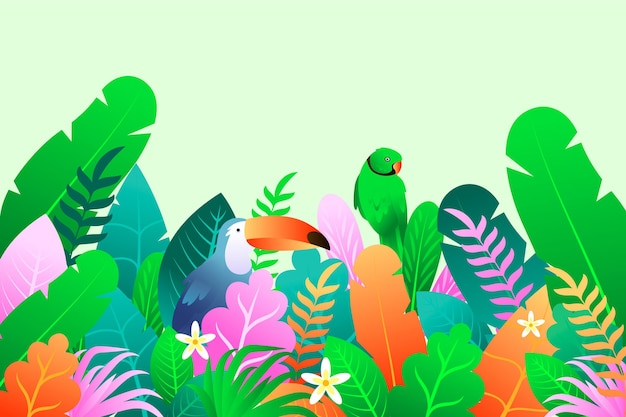Summer background with parrot and toucan