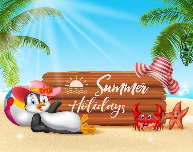 펭귄 편안한 여름 배경