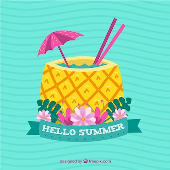 Летний фон с ананасовым напитком