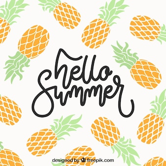 Summer background with pineapples in flat style
