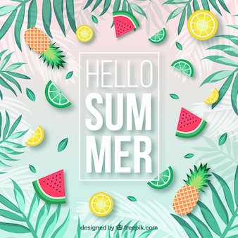 Summer background with plants and delicious fruits